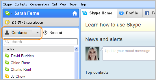 Skype with Contacts tab highlighted