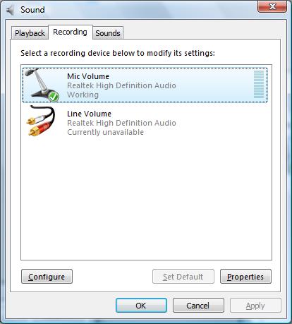 Périphériques d'enregistrement sous Vista